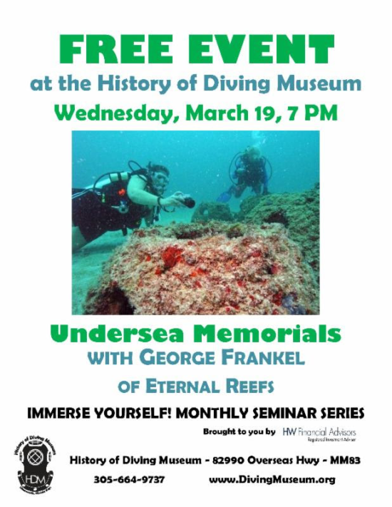 Dive Memorials at the History of Diving Museum, FREE Presentation