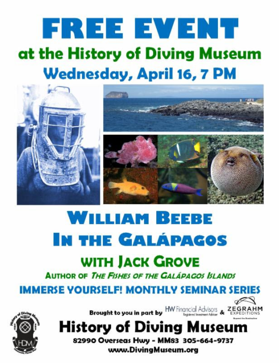 Special GALAPAGOS Presentation, April 16th, at the History of Diving Museum